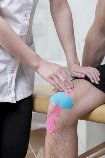 A sleep medicine specialist can show you how to tape your knee with kt tape to give it more support.